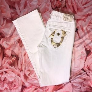 True Religion Joey Flare Jeans in White & Gold
